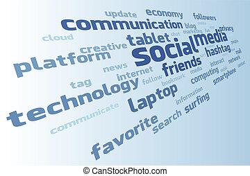 mídia, vetorial, nuvem, social