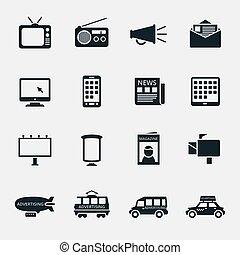 mídia, vetorial, silueta, anunciando, ícones