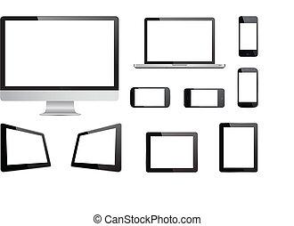 mídia, vetorial, tecnologia, dispositivos