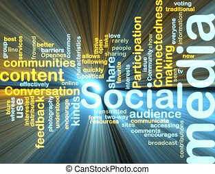 mídia, wordcloud, glowing, social