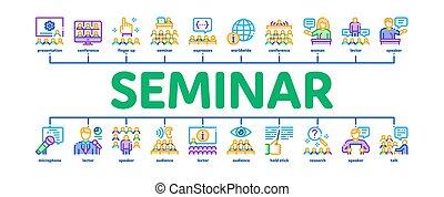 mínimo, bandera, vector, seminario, infographic, conferencia