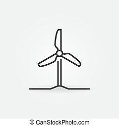 mínimo, esboço, vento, ícone, turbina, conceito, vetorial