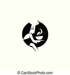 mínimo, logotipo, de, chef, con, sopa, vector, ilustración