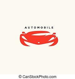 mínimo, logotipo, de, rojo, automóvil