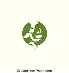 mínimo, logotipo, de, verde, chef, con, sopa, vector, ilustración