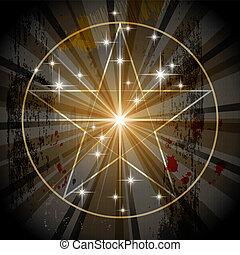 místico, antiga, pentagram