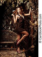místico, beleza, jovem, floresta, mulher, luxo