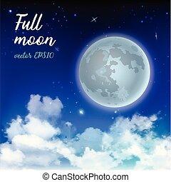 místico, cielo, luna llena, contra, el, plano de fondo, de, el, galaxia, y, lechoso, way., luz de la luna, night., realista, clouds., brillar, estrellas, en, azul oscuro, sky., vector, ilustración, fondo.