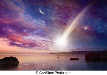 místico, cometas, céu, -, longo, sinal, caudas, queda