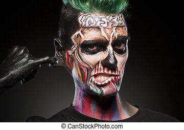 místico, cranio, makeup., rosto, luminoso, retrato, arte, homem