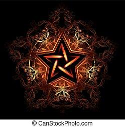 místico, estrella, ardiente