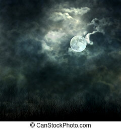 místico, luar, céu, escuro, fluir, chão