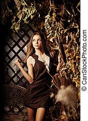 místico, mulher, beleza, jovem, floresta, luxo