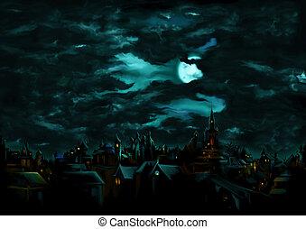 místico, noturna, sobre, a, medieval, gótico, cidade