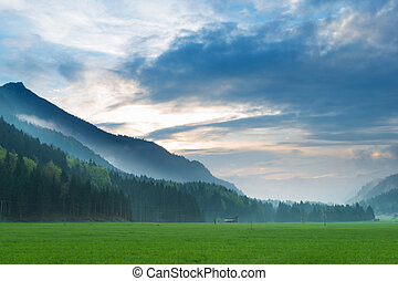 místico, ocaso, en, el tyrol, alpes, con, bosque, y, cielo...