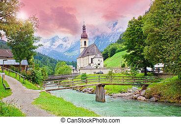 místico, ocaso, en, ramsau, iglesia, berchtesgaden, alpes