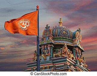 místico, om, i.e., dharma, syllable, aum, --is, religiones, señal, jainism, budismo, indio, hinduismo, bandera, sagrado, o