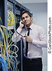 místo, telefon, ono, mluvící, síť, inženýr