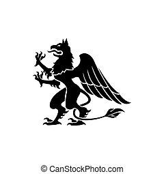 mítico, aislado, bestia, gryphon, criatura