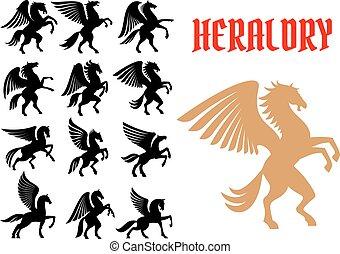 mítico, animales, heráldico, iconos, emblemas