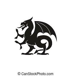 mítico, dragón, aislado, bestia, gryphon, criatura