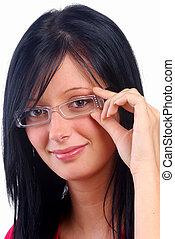 m�dchen, abnützende brille