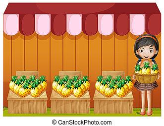 m�dchen, ananas, verkauf