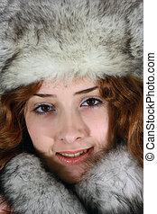 m�dchen, arktisch, porträt, kappe, fuchs