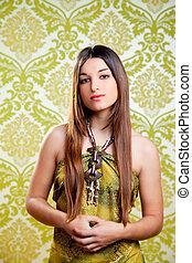 m�dchen, asiatisch, brünett, indische , haar, langer, schöne
