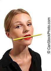 m�dchen, attraktive, roter lippenstift