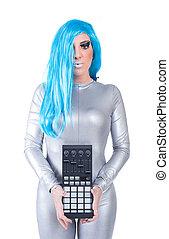 m�dchen, audiogerät, cyber