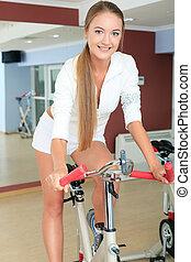 m�dchen, auf, fahrrad