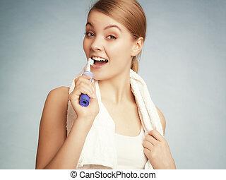 m�dchen, bürsten, teeth., zahnmedizin, gesunde, teeth.
