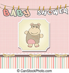 m�dchen, baby, karte, kindisch, dusche