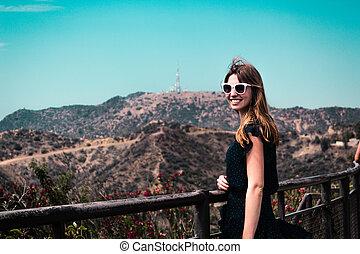 m�dchen, bei, hollywood, hügel, in, los angeles , kalifornien