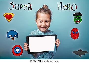 m�dchen, besitz, der, tablette, und, freuen, lächeln, super held, honigraum, macht