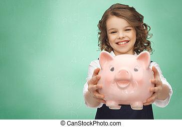 m�dchen, besitz, schweinchen, glücklich, bank