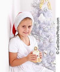 m�dchen, besitz, weihnachtsglocke
