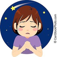 m�dchen, beten, traurige