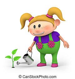 m�dchen, bewässerung, pflanzenkeim