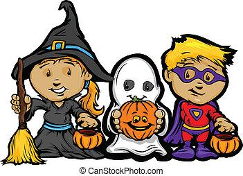 m�dchen, bild, halloween, kinder, trick, vektor, behandeln, wagenheber-o-laternen, oder, karikatur, glücklich