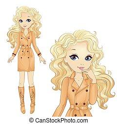 m�dchen, blond, kühl, mantel