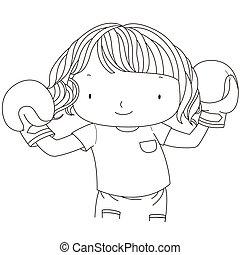 m�dchen, boxhandschuhe, abbildung, reizend, rotes