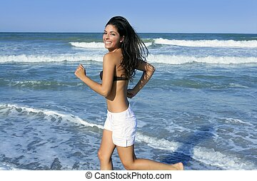 m�dchen, brünett, springende , sommer, sandstrand, schöne