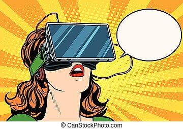 m�dchen, brille, retro, virtuelle wirklichkeit