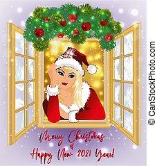 m�dchen, card., balls., fenster, 2021, vektor, abbildung, neu , glücklich, weihnachten, jahr, santa, winter, sexy, claus