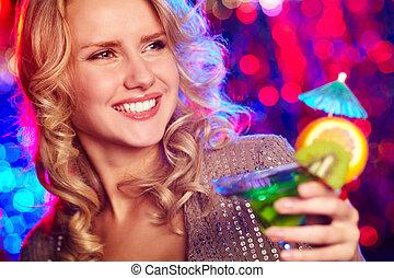 m�dchen,  Cocktail, glücklich