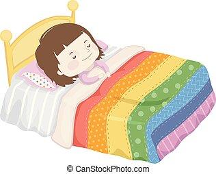 m�dchen, decke, schlaf, kind, bett, abbildung, regenbogen