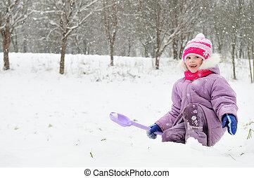 m�dchen, draußen, winter, verschneiter