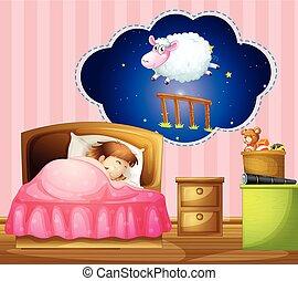 m�dchen, eingeschlafen, bett